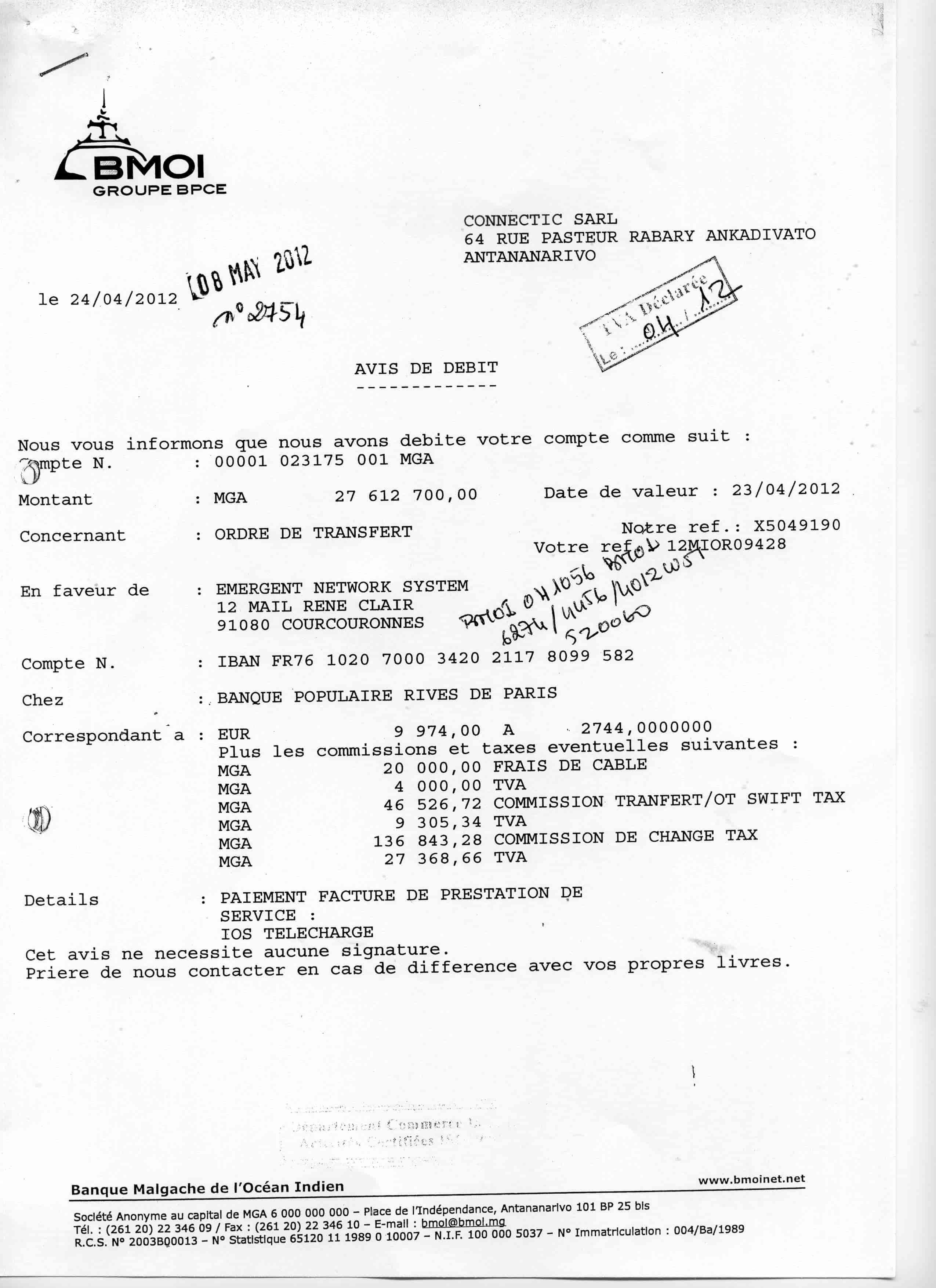 En 2012 Ranarison Tsilavo A Signe Tous Les Ordre Virements